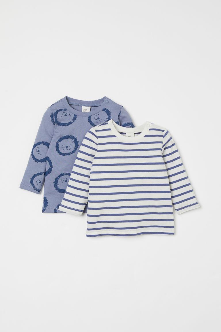 H & M - 2件入棉質上衣 - 藍色