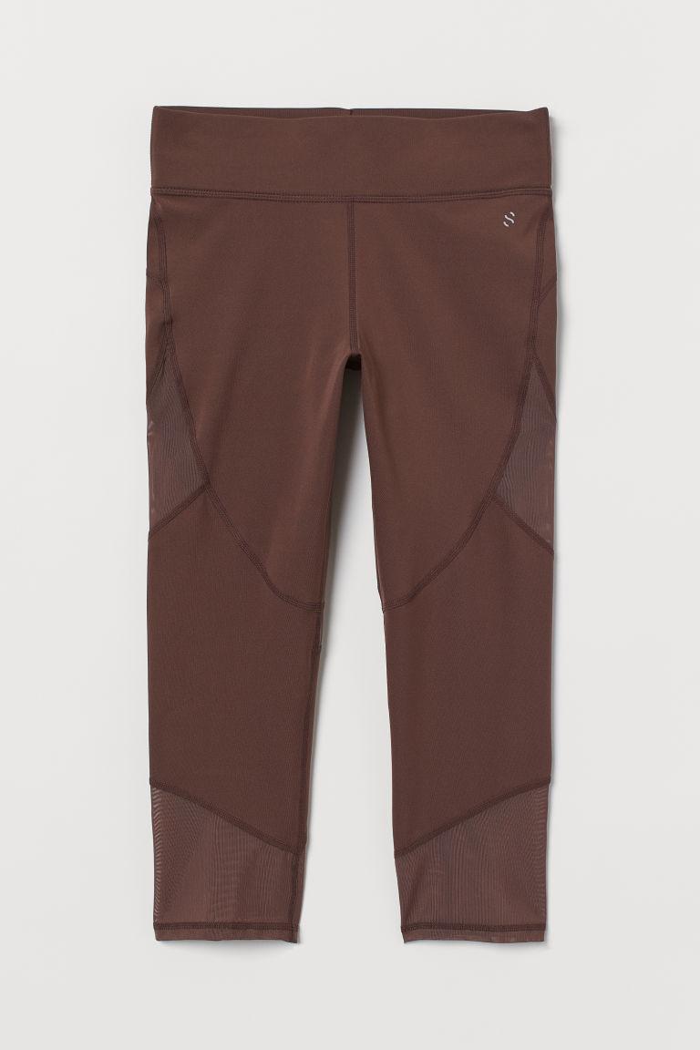 H & M - 緊身七分跑步褲 - 褐色