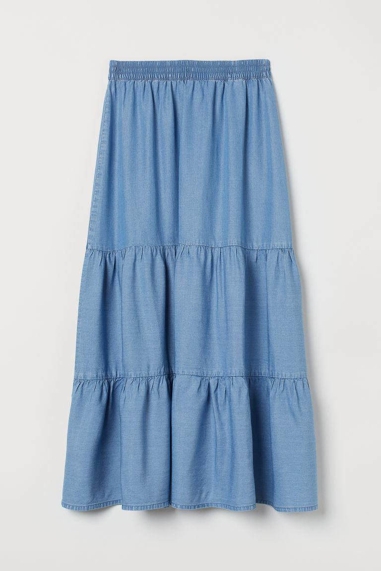 H & M - 寬鬆萊賽爾長裙 - 藍色