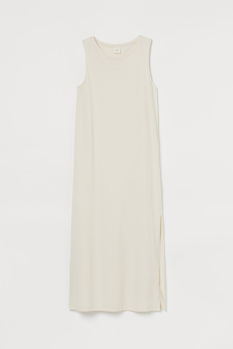 H & M - 開衩平紋洋裝 - 米黃色