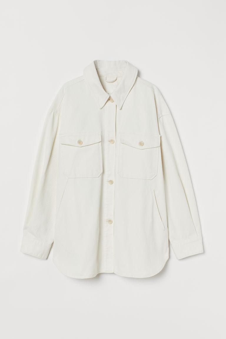 H & M - 斜紋襯衫式外套 - 白色