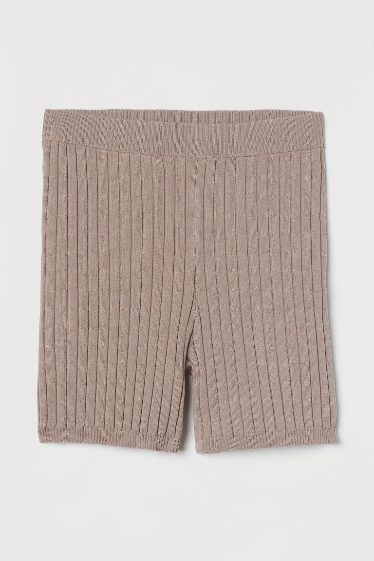 H & M - 羅紋針織短褲 - 褐色