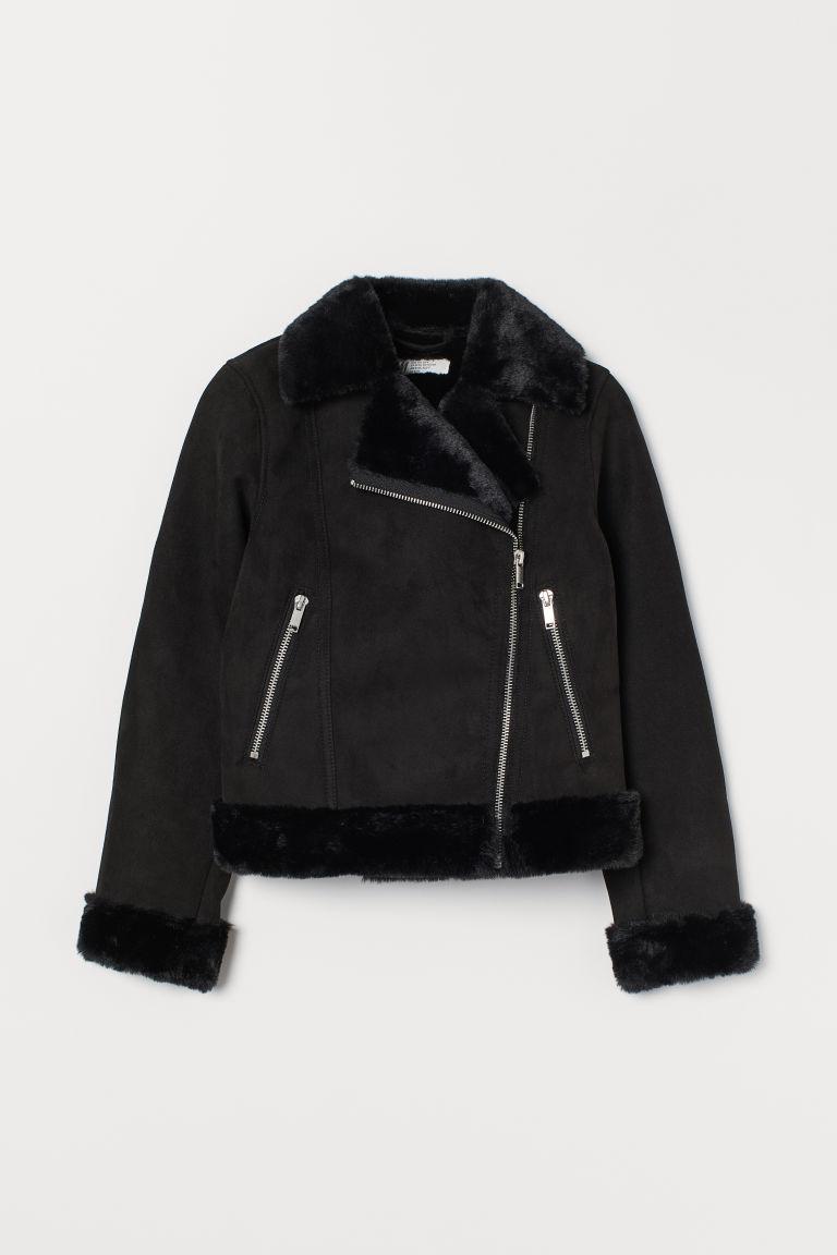 H & M - 仿皮草內裡騎士外套 - 黑色