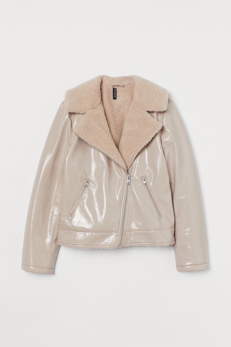 H & M - 鋪內裡騎士外套 - 米黃色