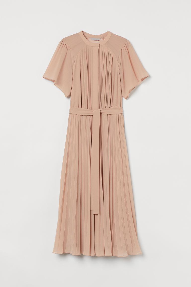 H & M - 雪紡百褶洋裝 - 米黃色