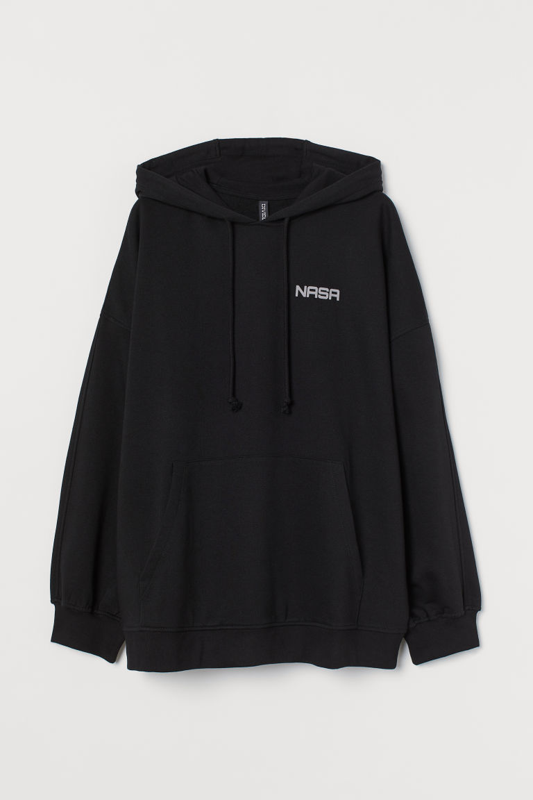 H & M - 加大碼連帽上衣 - 黑色