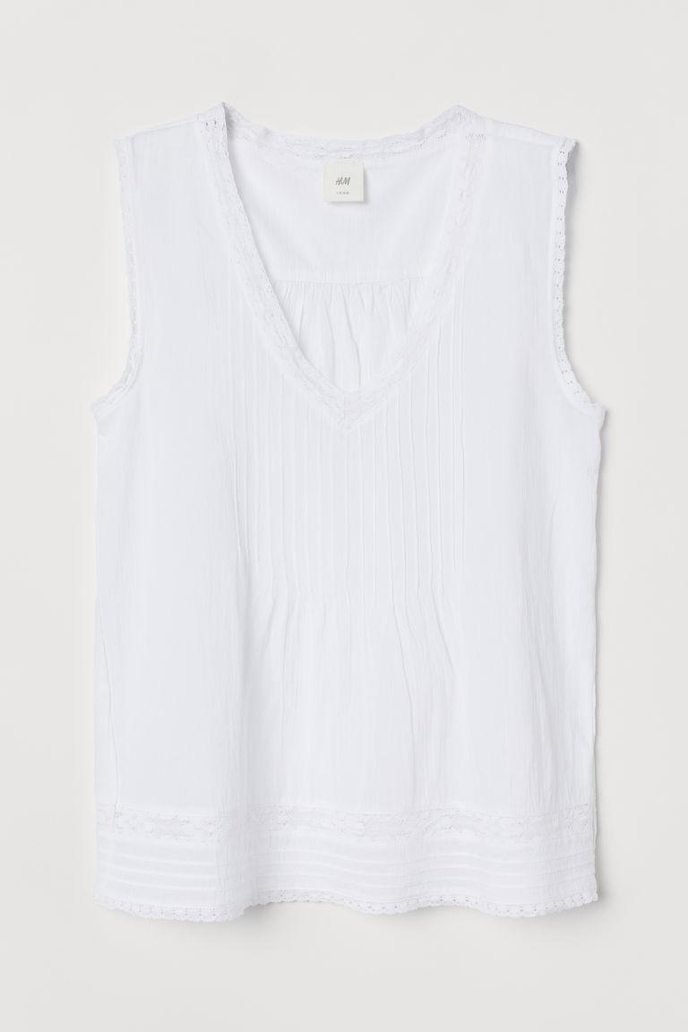 H & M - 蕾絲飾邊上衣 - 白色