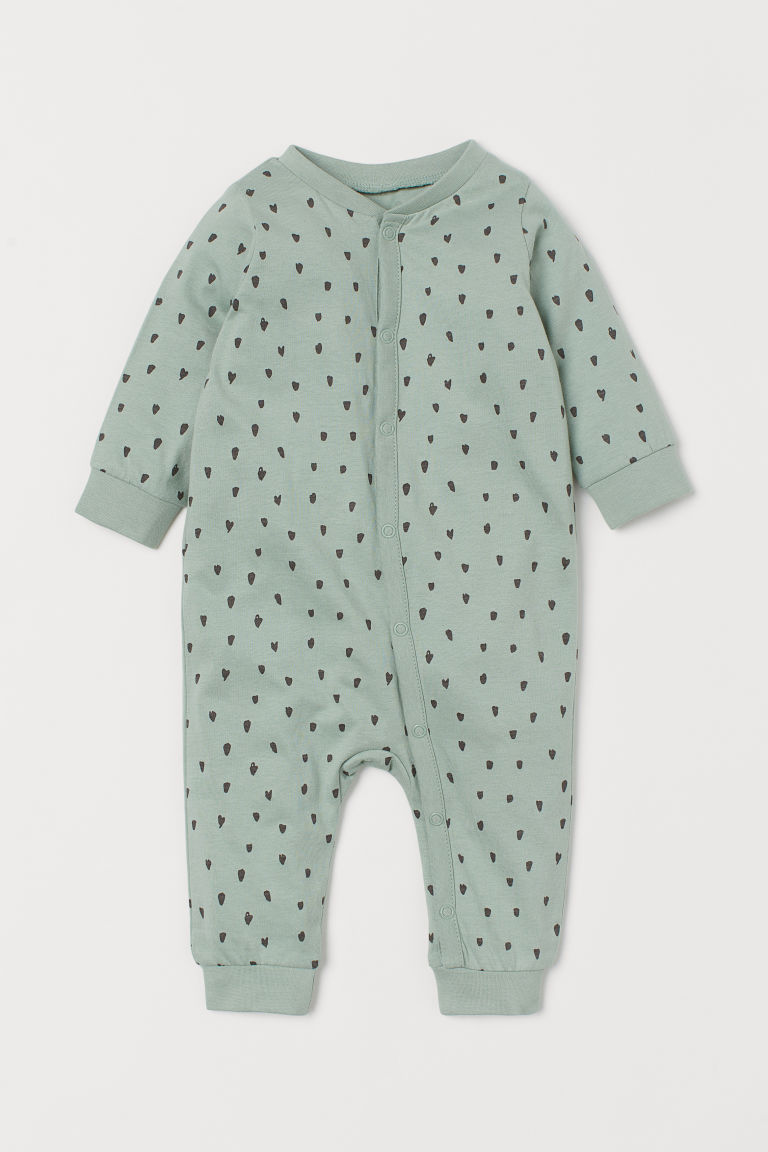 H & M - 棉質平紋睡衣套裝 - 綠色