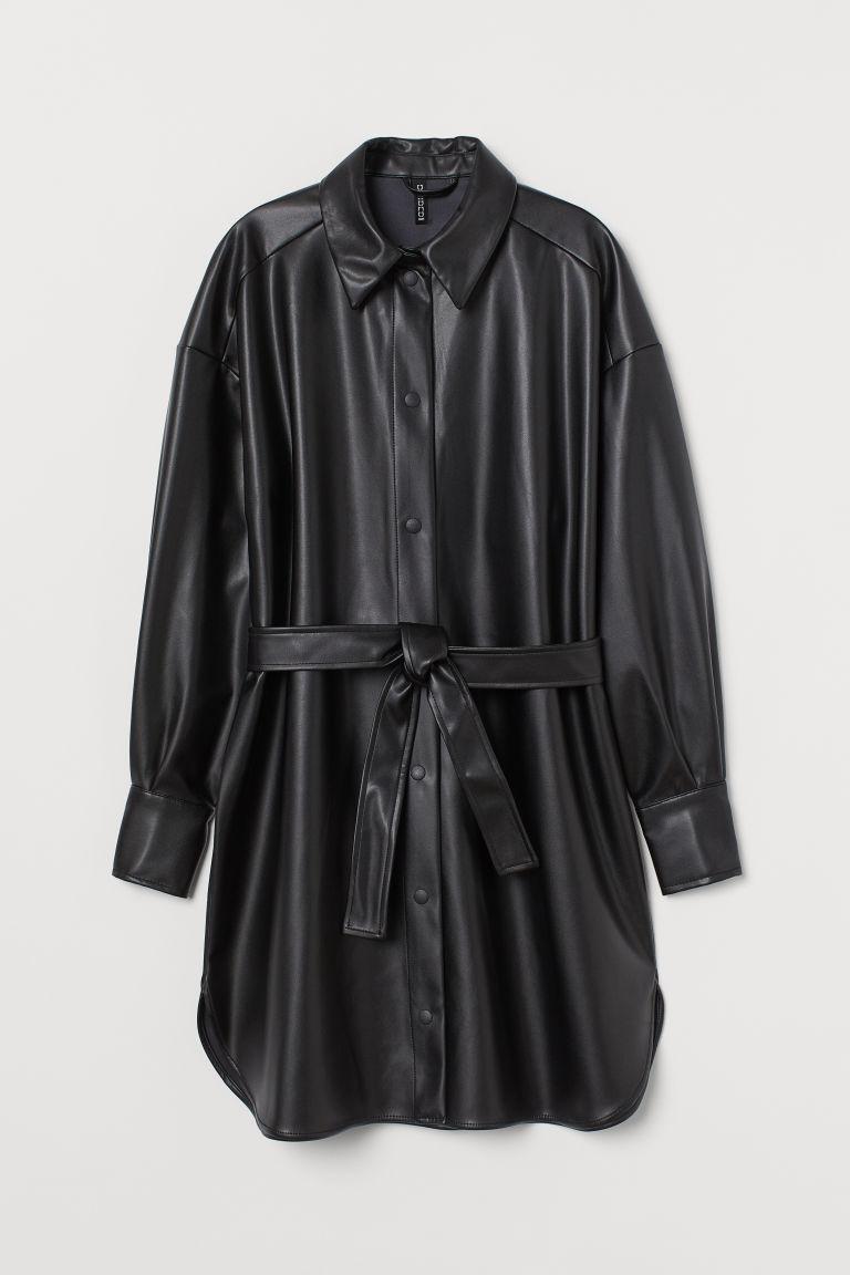 H & M - 仿皮襯衫式洋裝 - 黑色