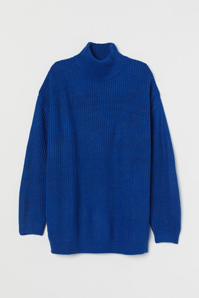 H & M - 圓高領套衫 - 藍色