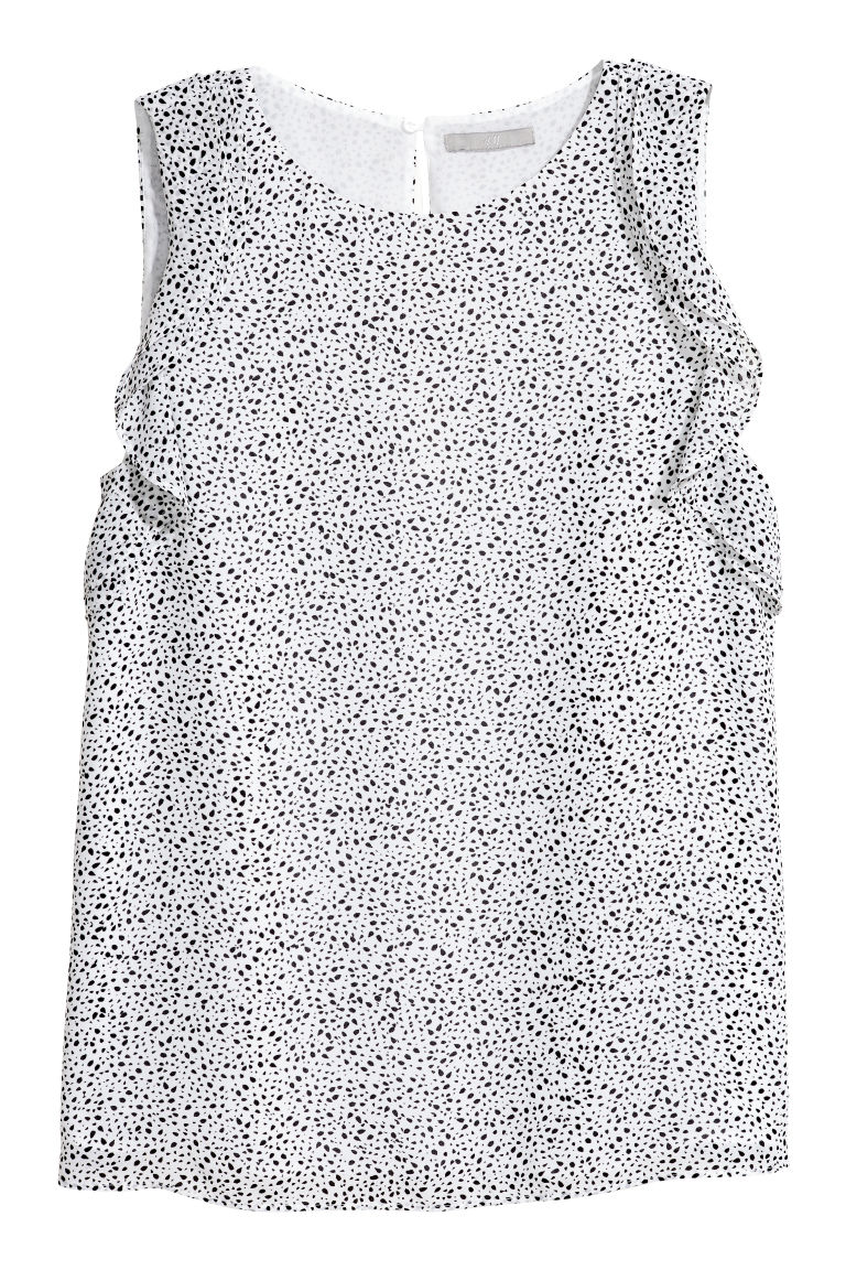 H & M - 荷葉邊無袖上衣 - 白色
