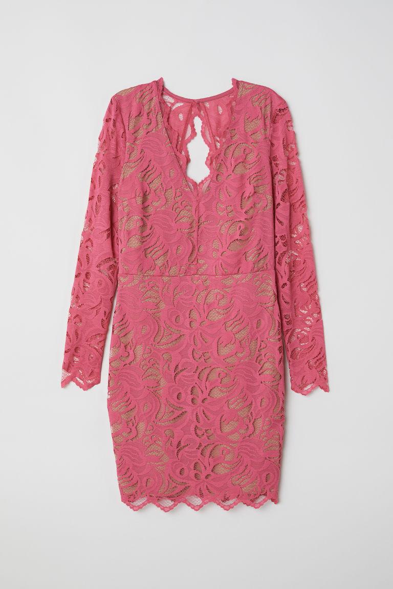 H & M - 合身蕾絲洋裝 - 粉紅色