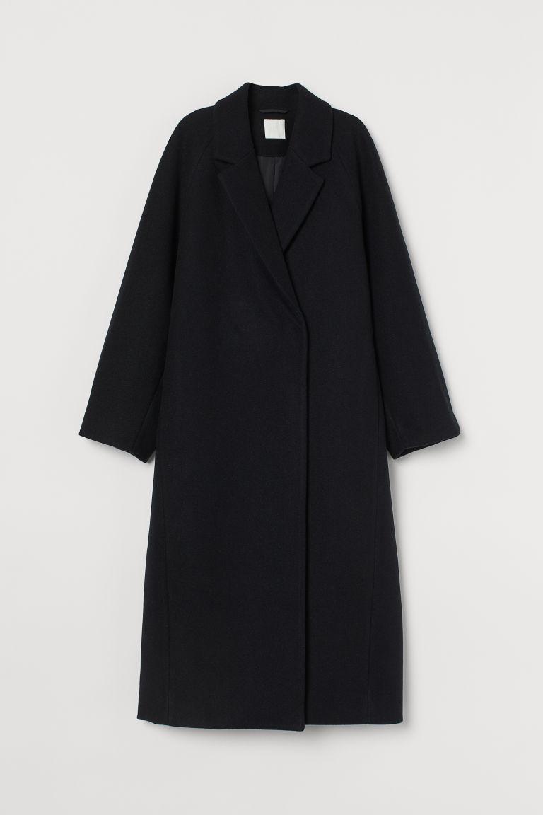 H & M - 中長大衣 - 黑色
