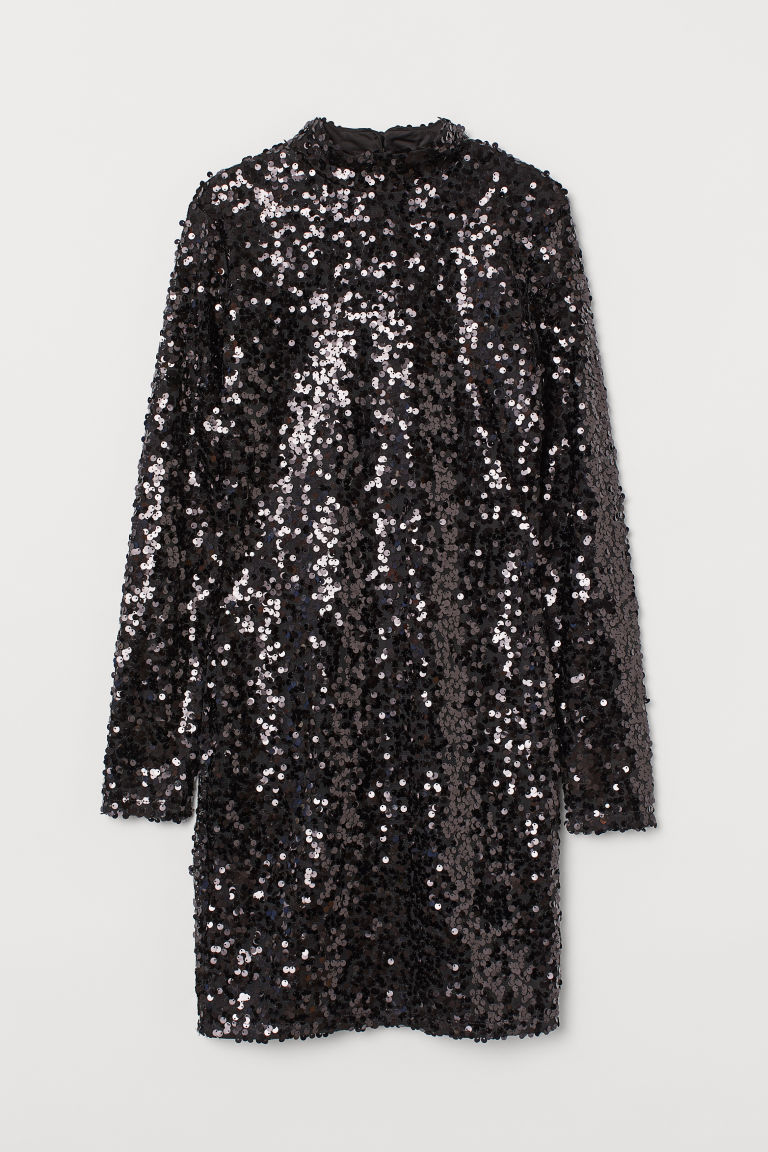 H & M - 立領亮片洋裝 - 黑色