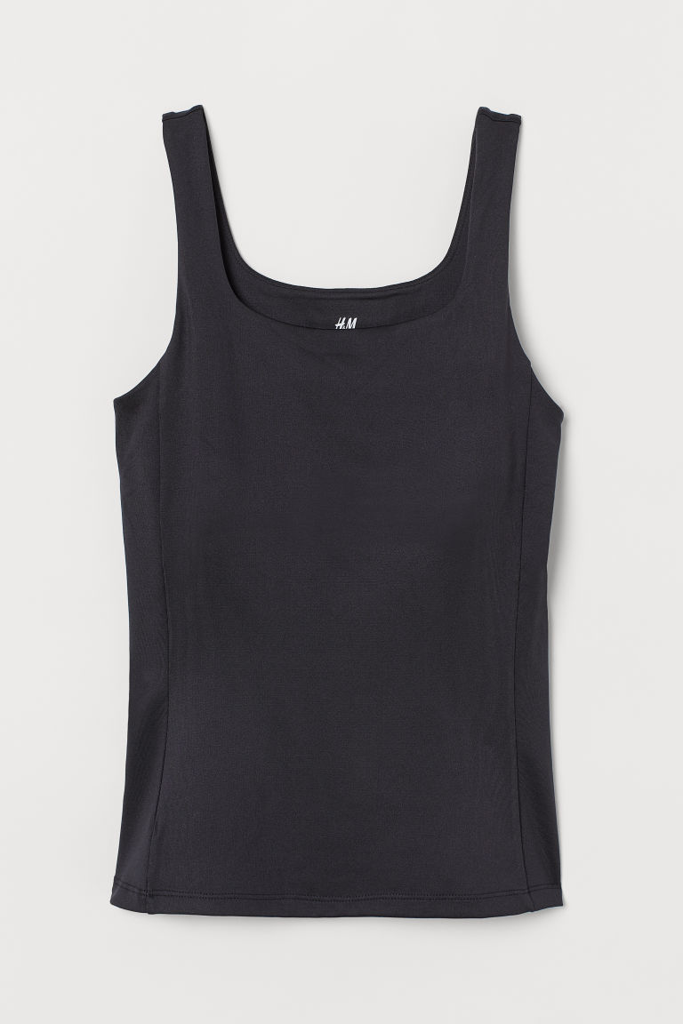 H & M - 配運動內衣運動上衣 - 黑色