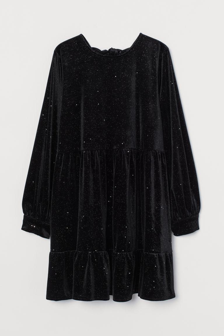 H & M - 結飾絲絨洋裝 - 黑色
