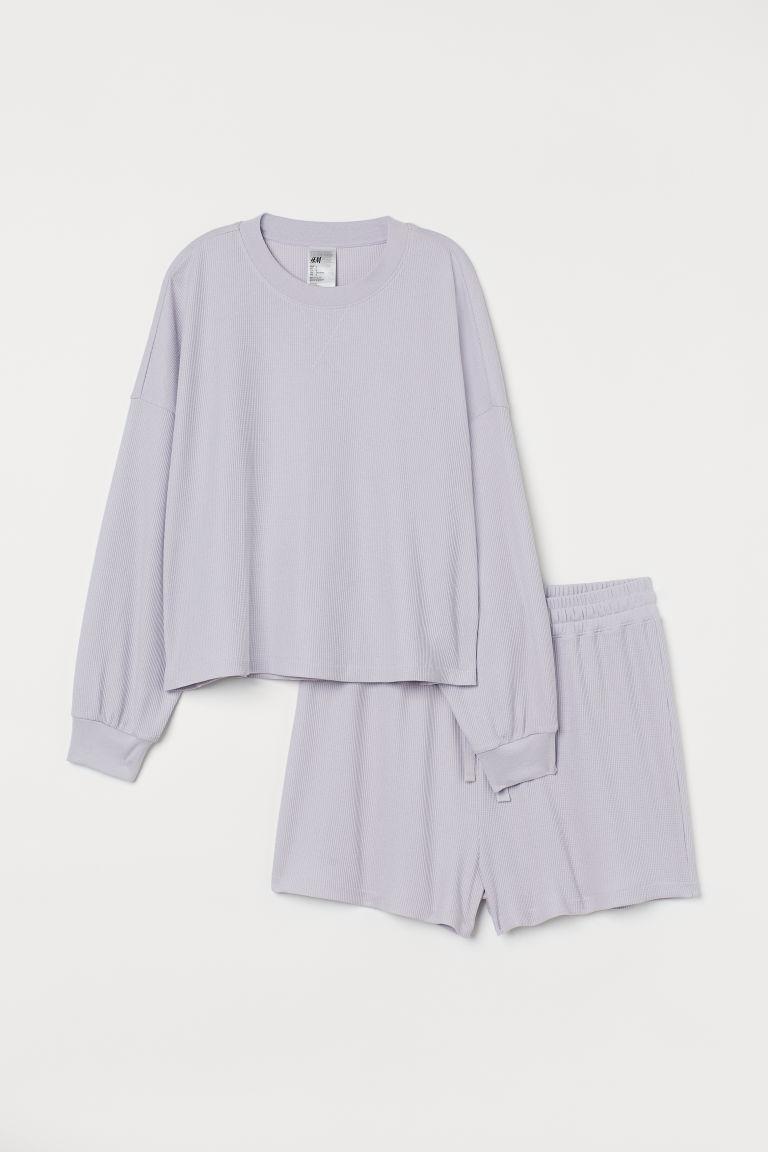 H & M - H & M+ 華夫格睡衣套裝 - 紫色