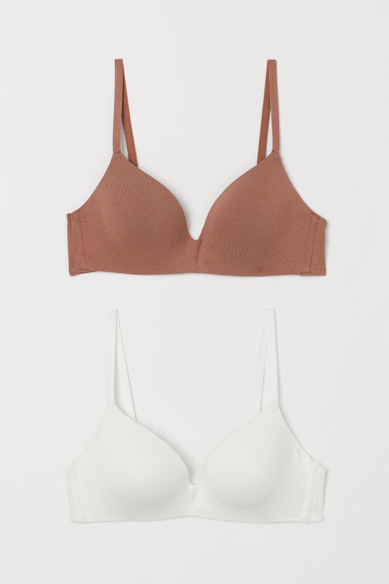 H & M - 2件入棉質加墊胸罩 - 米黃色
