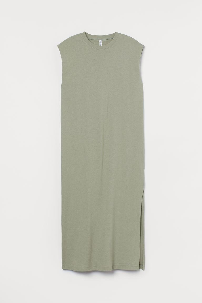 H & M - 無袖棉質洋裝 - 綠色