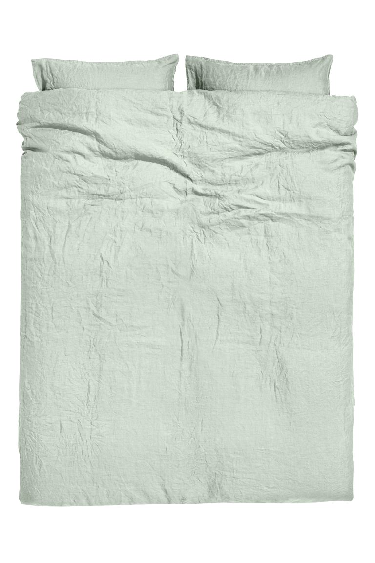 Washed Linen Duvet Cover Set - Light green - Home All | H&M US