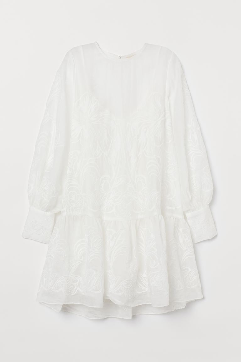 Lyocell-blend tunic - White - Ladies | H&M IE