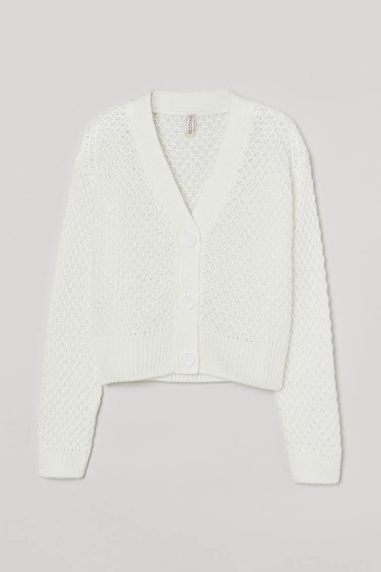 Moss-knit Cardigan - White - Ladies | H&M US