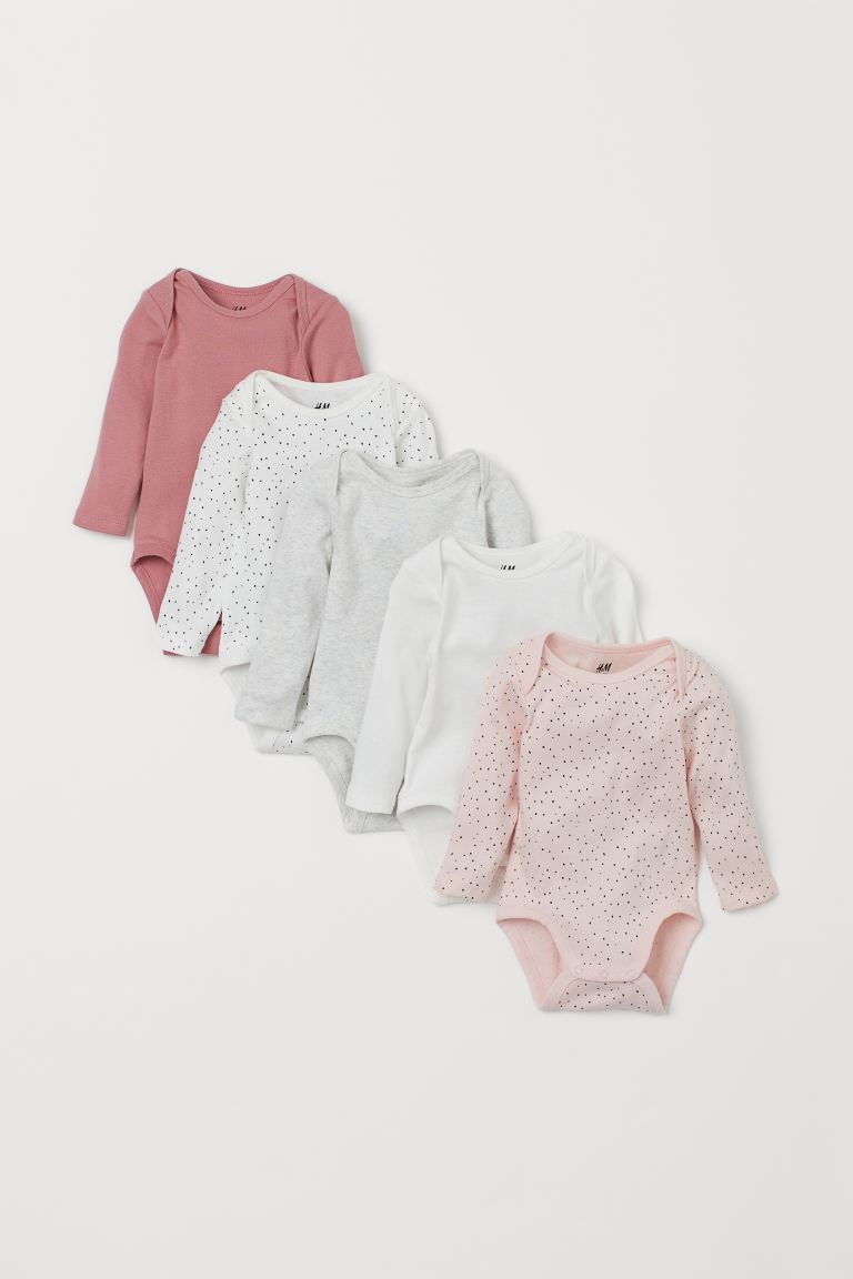 5-pack long-sleeved bodysuits - Pink/Small spots - Kids | H&M GB