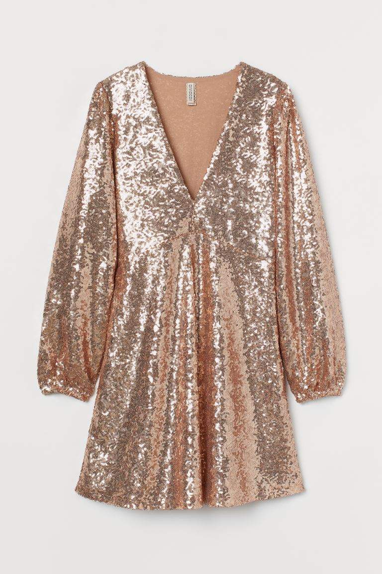 Sequined Dress - Gold-colored - Ladies | H&M US