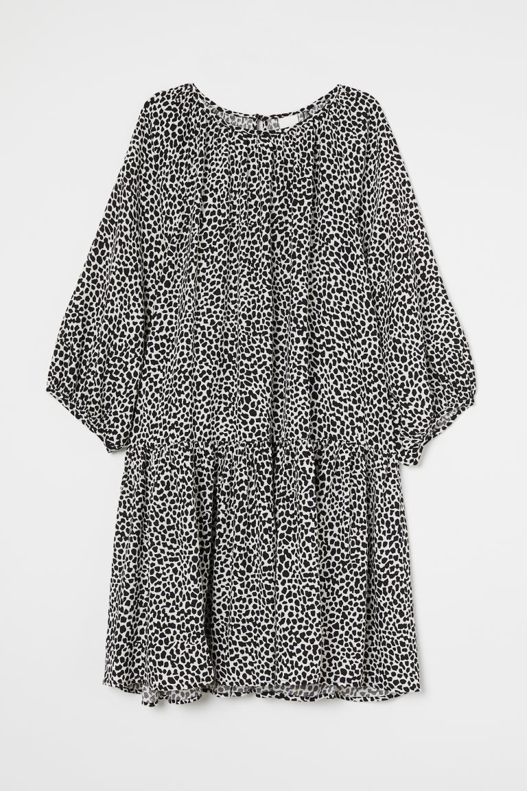 Balloon-sleeved Dress - Black/white patterned - Ladies | H&M US