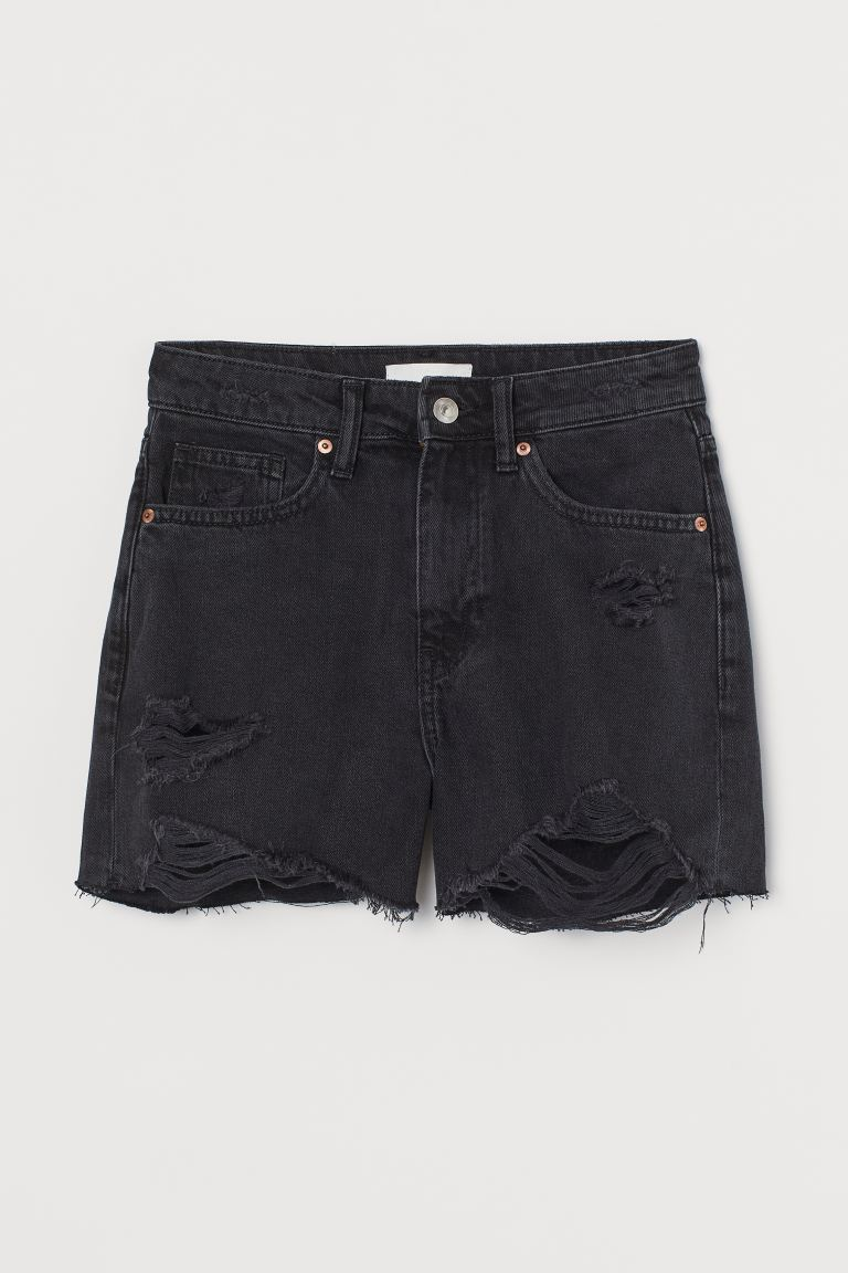 Denim shorts High Waist - Dark grey denim - Ladies | H&M