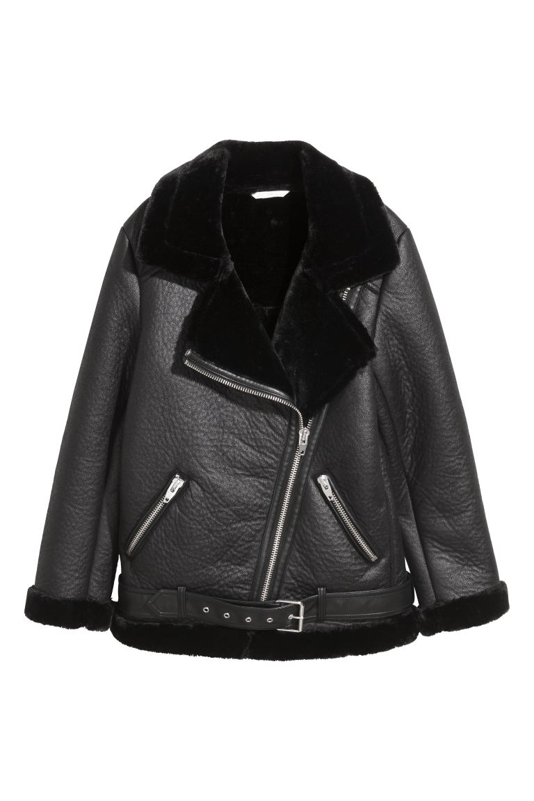 Oversized biker jacket - Black/Imitation leather - Ladies | H&M GB