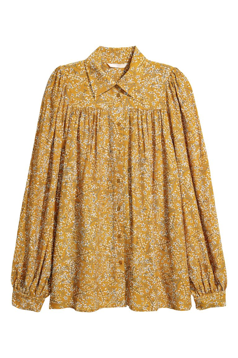 Patterned blouse - Mustard yellow - Ladies | H&M GB