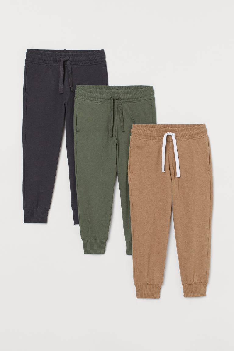 3-pack joggers - Khaki green - Kids | H&M