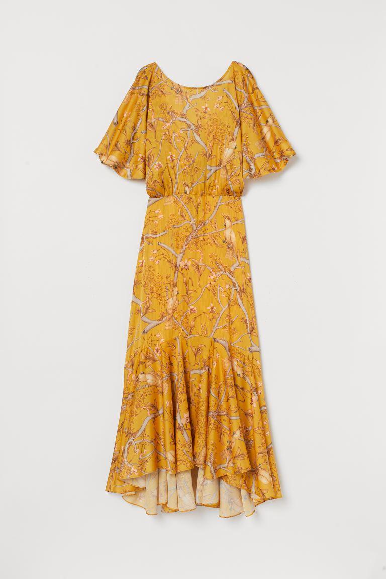 Robe En Satin Froissé Jaune Foncé Orchidées Femme H M Fr