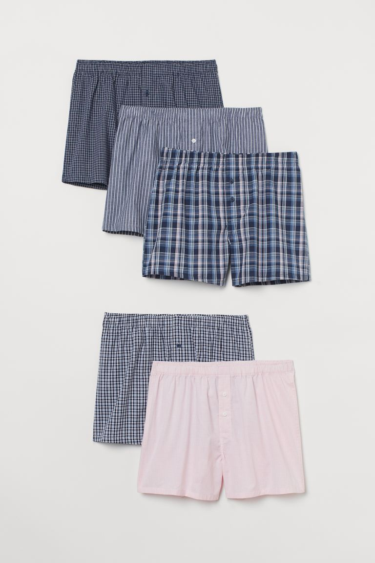 5-pack Woven Boxer Shorts - Light pink/dark blue - Men | H&M CA