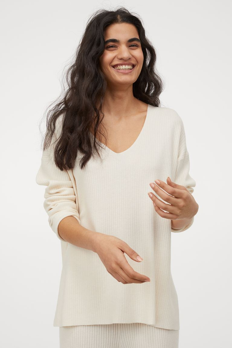 Gerippter Pullover - Cremefarben - Ladies | H&M AT