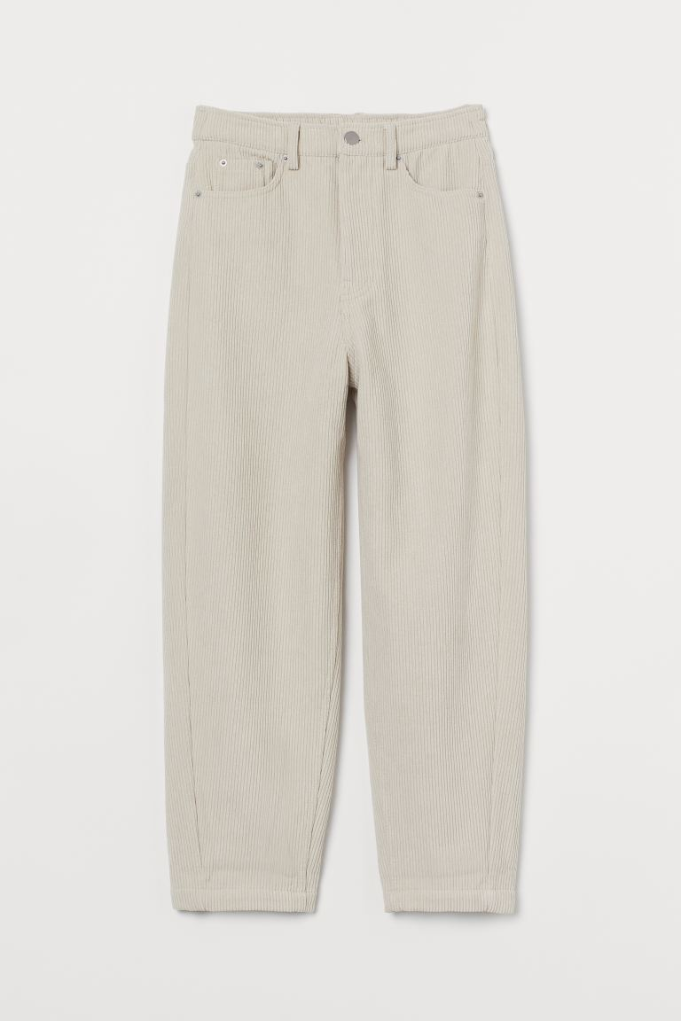 High-waisted corduroy trousers - Powder beige - Ladies | H&M