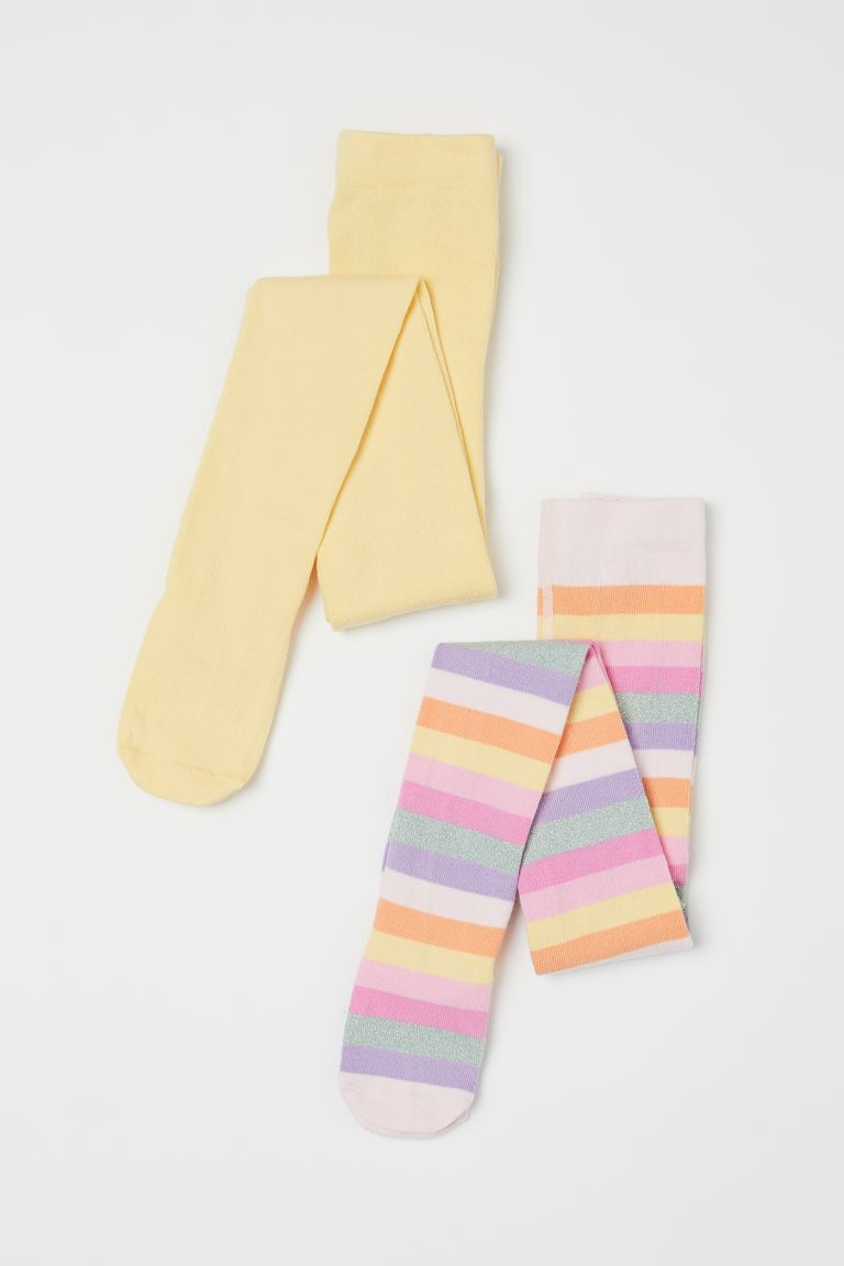 2-pack Fine-knit Tights - Light yellow/striped - Kids | H&M US
