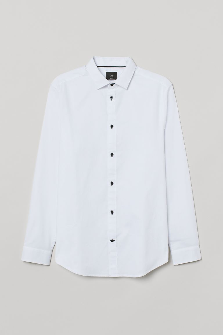 Cotton shirt Slim Fit - White - Men | H&M IN