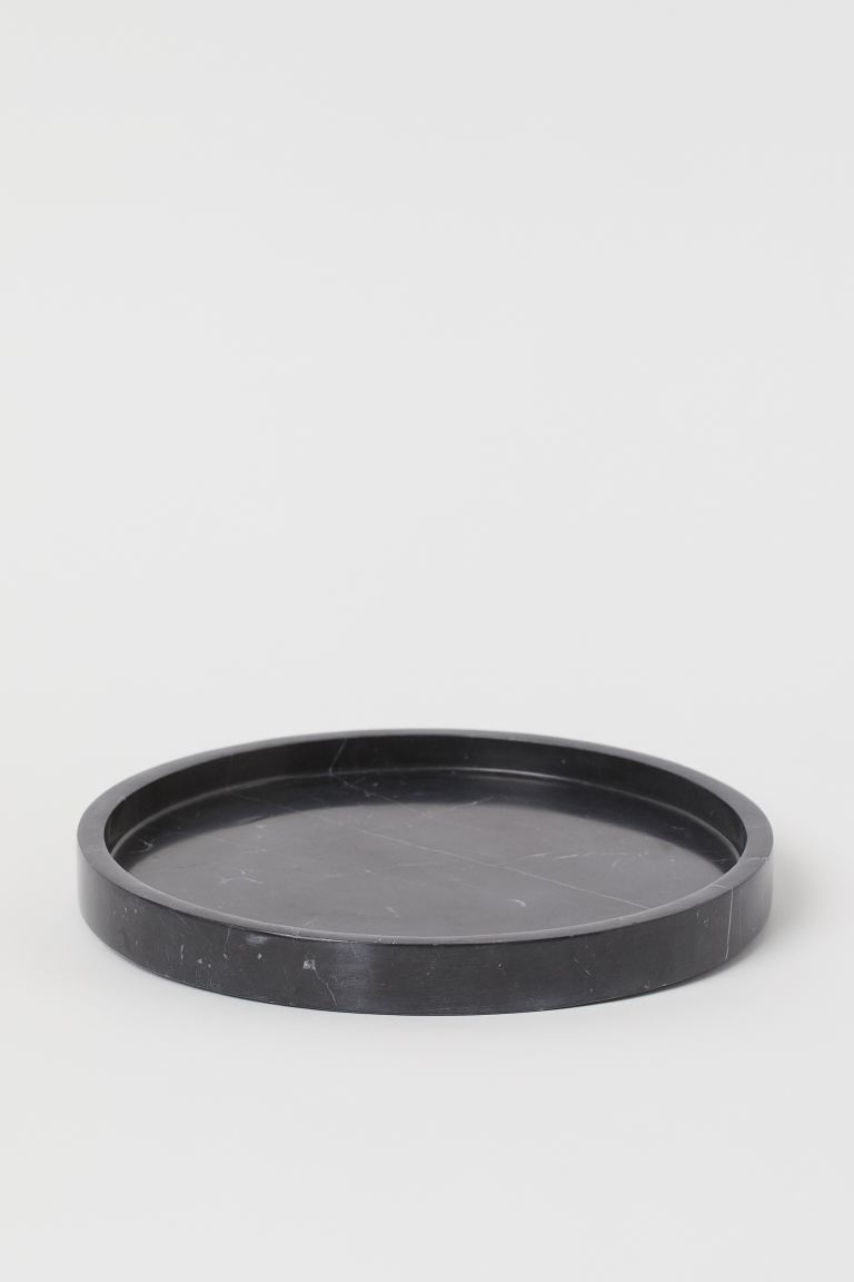 Round marble tray - Black - Home All | H&M GB