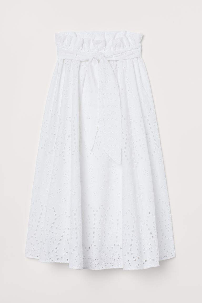 Eyelet Embroidery Skirt - White - Ladies | H&M US