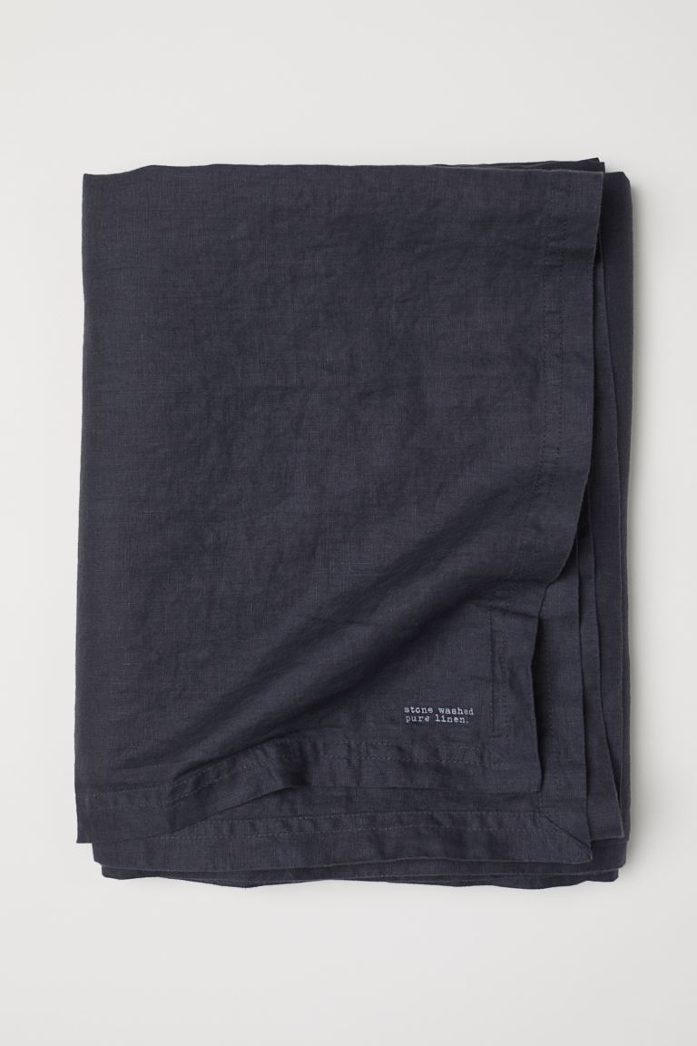 Washed Linen Tablecloth - Charcoal gray - Home All | H&M US