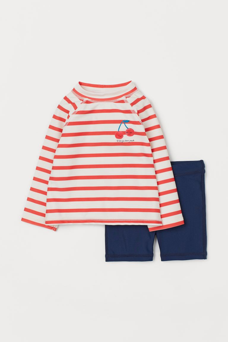 Swim Set UPF 50 - Bright red/cherries - Kids | H&M US
