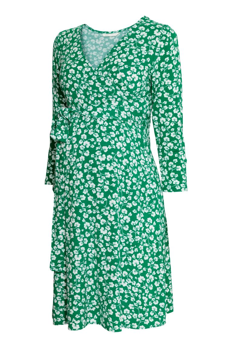MAMA Jersey dress - Green/Floral - Ladies | H&M GB