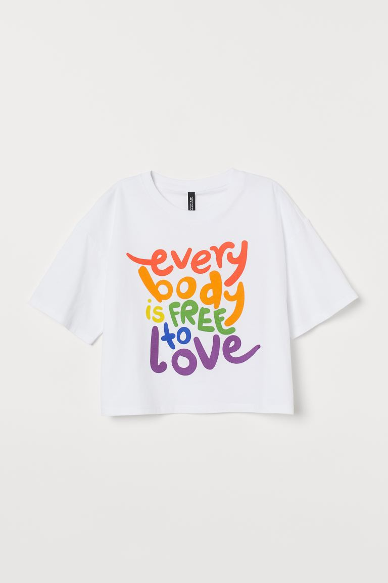 Short T-shirt - White/Everybody - Ladies | H&M GB
