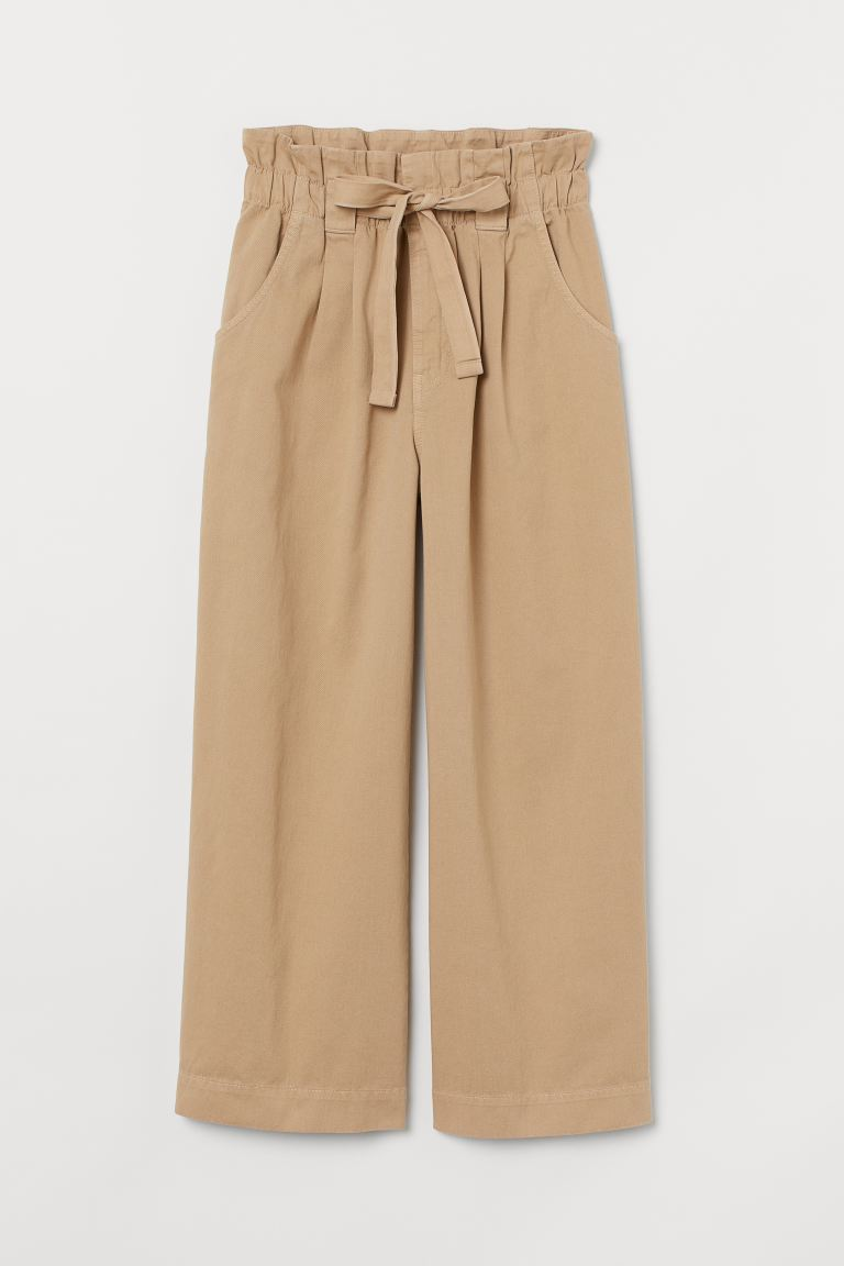 Twill paper bag trousers - Beige - Ladies | H&M GB
