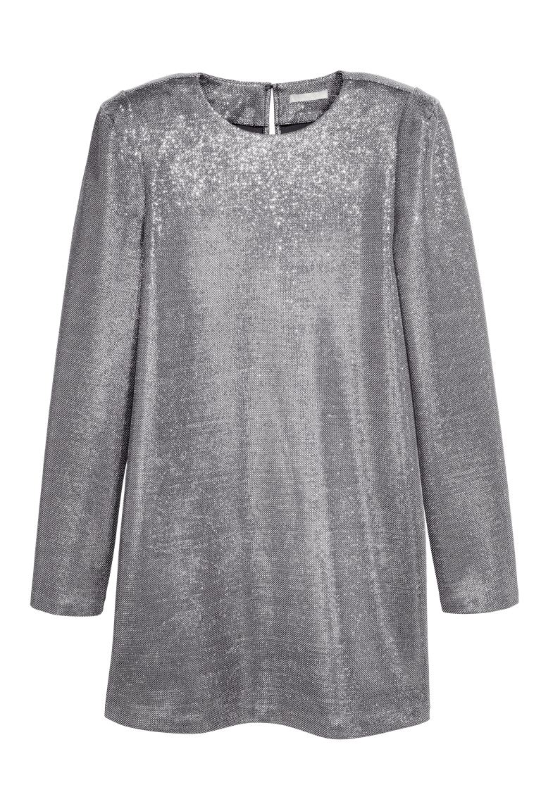 Glittery dress - Silver-coloured - Ladies | H&M GB