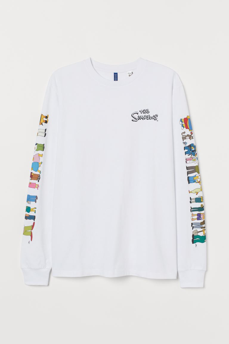 Printed Jersey Shirt - White/The Simpsons - Men | H&M CA