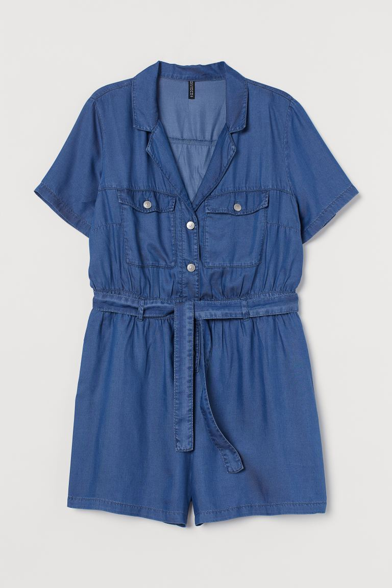 H&M+ Lyocell playsuit - Dark blue - Ladies | H&M