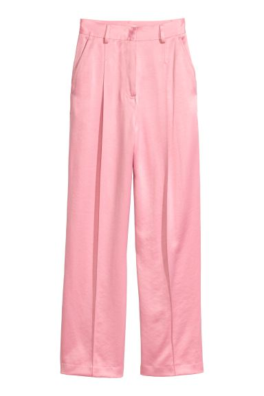 Wide satin suit trousers - Light pink - Ladies | H&M